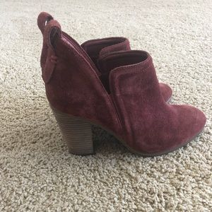 Vince Camuto Burgundy Suede Ankle Boot